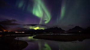 Preview wallpaper northern lights, aurora, mountains, night, starry sky, stars