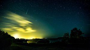 Preview wallpaper northern lights, aurora, starry sky, night, night sky