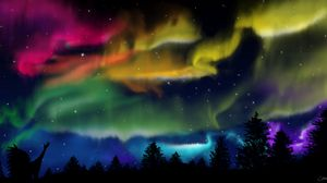 Preview wallpaper northern lights, silhouette, shaman, forest, sky, night