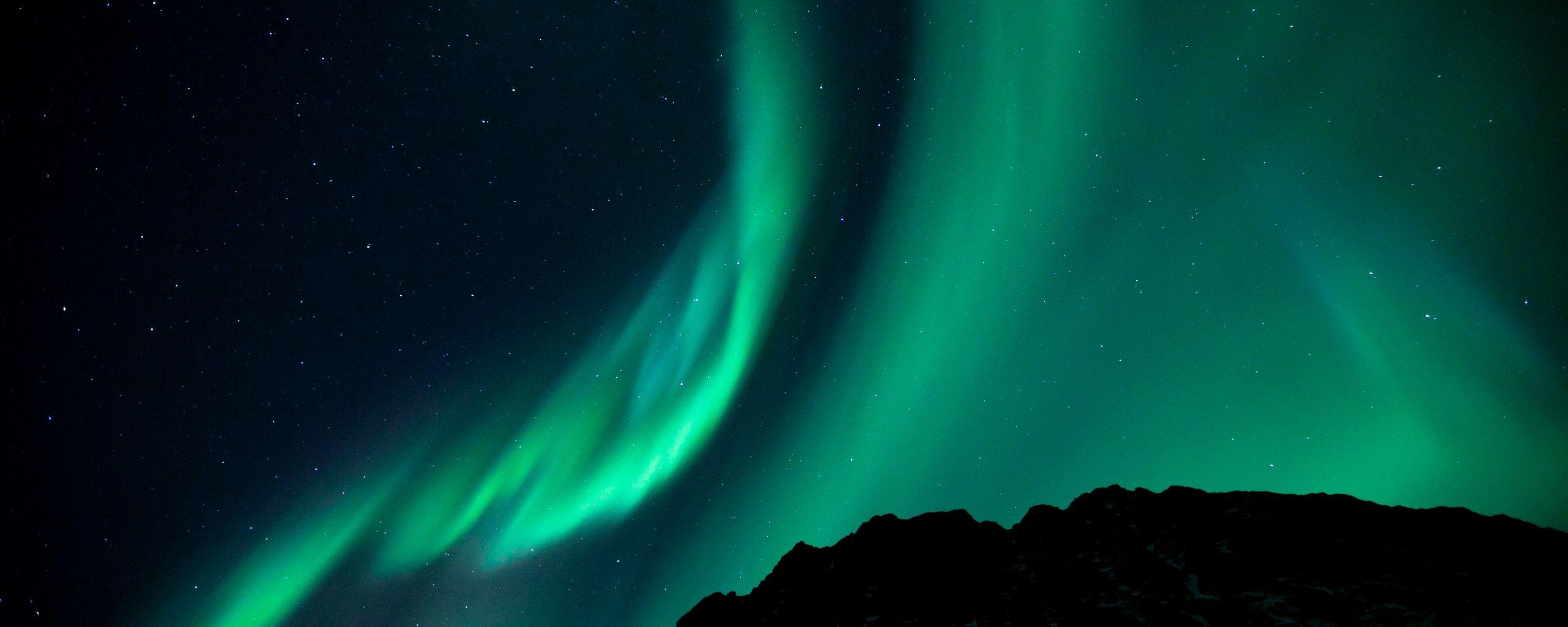 2560x1024 Wallpaper northern lights, night, night sky, phenomenon