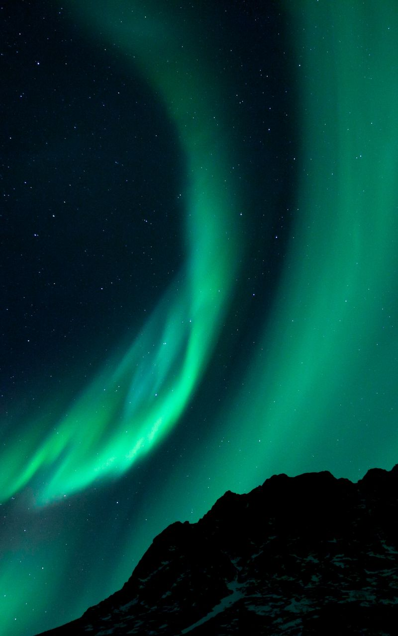 800x1280 Wallpaper northern lights, night, night sky, phenomenon
