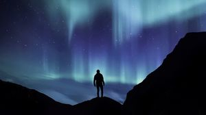 Preview wallpaper northern lights, silhouette, mountains, starry sky, phenomenon