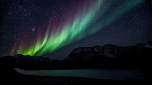 Preview wallpaper northern lights, starry sky, mountains, lake, night