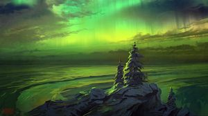 Preview wallpaper northern lights, trees, snowy, art