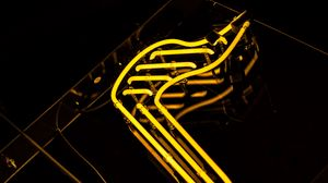 Preview wallpaper note, neon, symbol, signboard, yellow