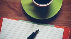 Preview wallpaper notebook, pen, cup, saucer