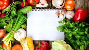 Preview wallpaper notebook, vegetables, cauliflower, garlic, tomatoes, cucumbers, mushrooms, herbs, corn, red pepper