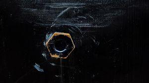 Preview wallpaper nut, screw-nut, hexagon, paint, texture, surface, black
