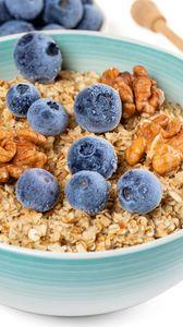 Preview wallpaper oatmeal, berries, nuts, bowl, breakfast