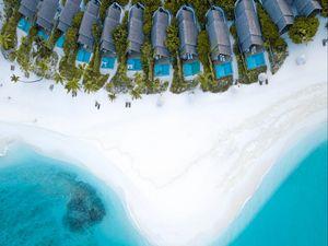 Preview wallpaper ocean, aerial view, coast, maldives, sand, beach, paradise