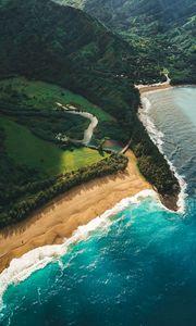Preview wallpaper ocean, beach, aerial view, kauai, hawaii