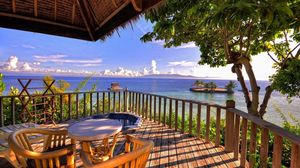 Preview wallpaper ocean, beach, balcony, view, horizon, leisure