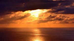 Preview wallpaper ocean, sunset, skyline, clouds, santa catarina, brazil