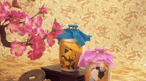 Preview wallpaper oil, bottles, coins, flowers, vase