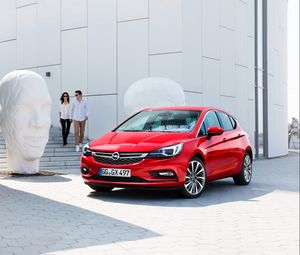 Preview wallpaper opel, astra k, red, city
