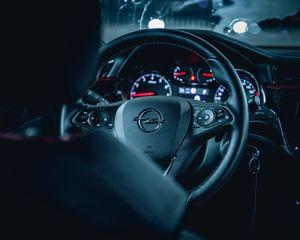 Preview wallpaper opel, car, steering wheel, salon, black