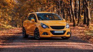 Preview wallpaper opel corsa opc, opel, car, yellow, front view, autumn