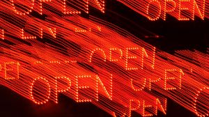 Preview wallpaper open, word, neon, light, red