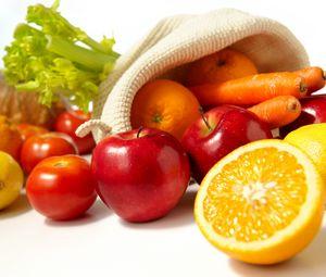 Preview wallpaper orange, apples, lemon, tomato, carrots