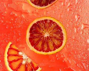 Preview wallpaper orange, citrus, wedges, fresh, red