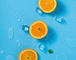 Preview wallpaper orange, ice, mint, citrus, rings, melting