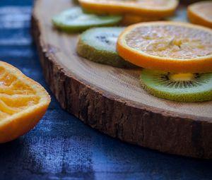 Preview wallpaper orange, kiwi, sliced, fruit