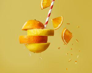 Preview wallpaper orange, lemon, fruit, slices, cocktail