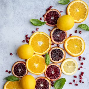 Preview wallpaper orange, lemon, slices, pomegranate, citrus, fruit