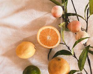 Preview wallpaper orange, peaches, fruits, leaves, fresh