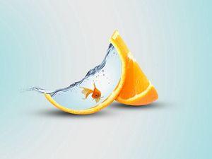 Preview wallpaper orange, slice, fish, water