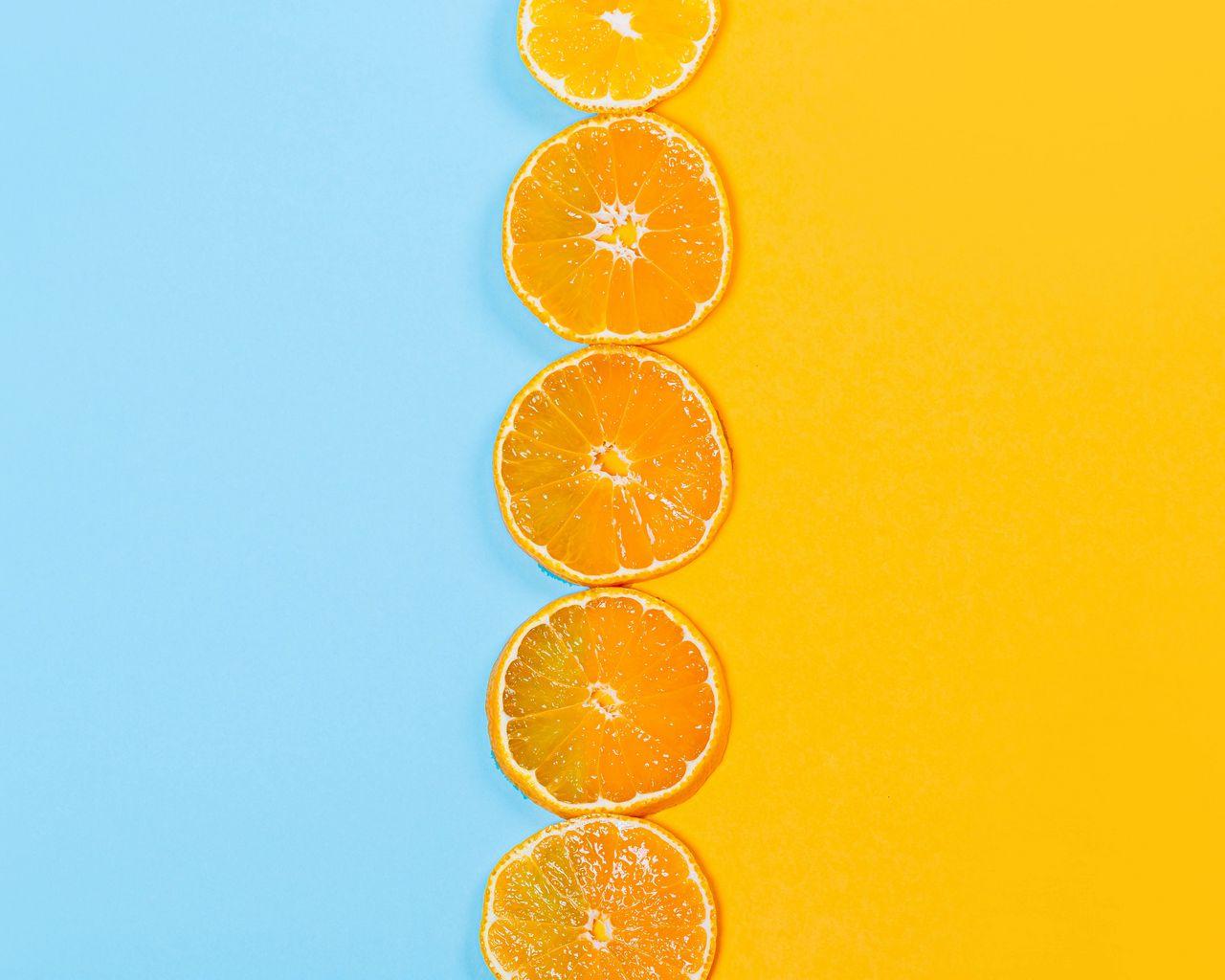 1280x1024 Wallpaper orange, slices, fruit, citrus