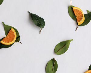 Preview wallpaper orange, slices, leaves, citrus