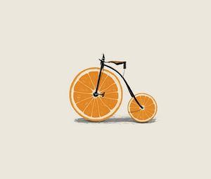Preview wallpaper orange, wedges, wheels, bicycle, minimalism, bike