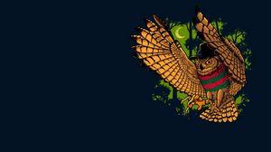 Preview wallpaper owl, bird, freddy krueger, minimalism