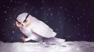 Preview wallpaper owl, snow, art, snowfall, steps