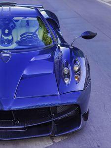 Preview wallpaper pagani huayra, car, sports car, blue, carbon