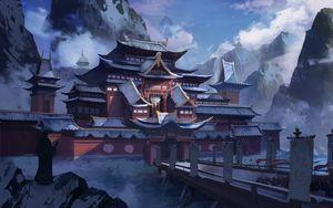 Preview wallpaper pagoda, temple, snow, winter, art