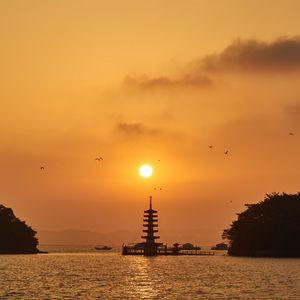 Preview wallpaper pagoda, sunset, river, dusk