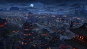 Preview wallpaper pagodas, buildings, architecture, night, aerial view, art