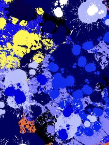 Preview wallpaper paint, spots, splashes, drips, abstraction, blue