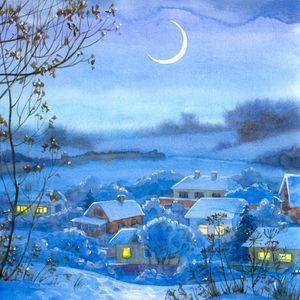 Preview wallpaper painting, winter, village, home, night, month, snow