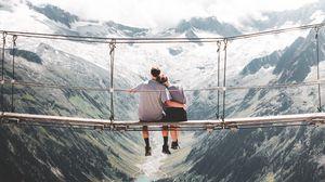 Preview wallpaper pair, hugs, love, bridge, height