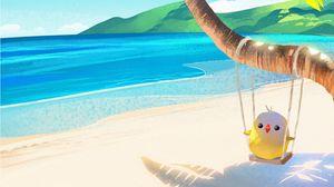 Preview wallpaper palm, bird, swing, beach, art