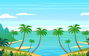 Preview wallpaper palm, island, art, water