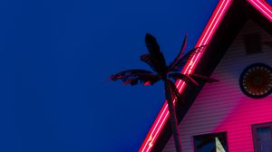 Preview wallpaper palm, roof, neon, backlight, red