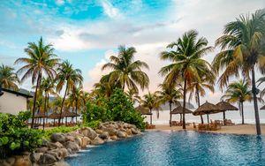 Preview wallpaper palms, trees, pool, beach, sea, summer