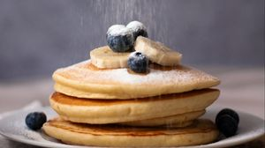 Preview wallpaper pancake, blueberries, banana, icing sugar, dessert