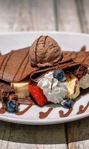 Preview wallpaper pancake, ice cream, berries, dessert, watering