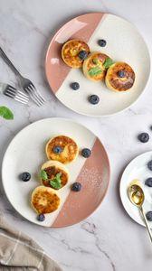 Preview wallpaper pancakes, blueberries, berries, mint, dessert
