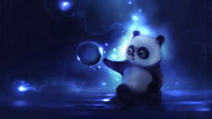 Preview wallpaper panda, art, apofiss, night